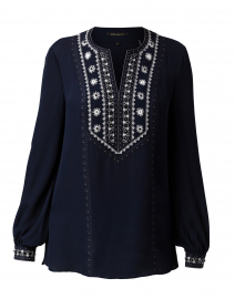 Sandi Midnight Blue Embroidered Silk Blouse