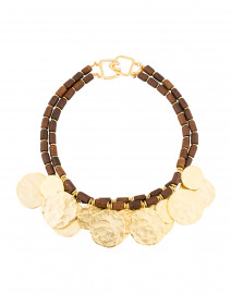 Brown Wooden Double Strand Coin Necklace