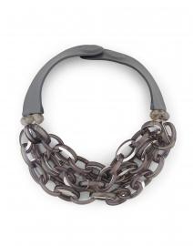 Mirella Grey Metallic Resin Chain Link Necklace