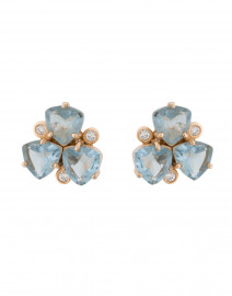 Hydro Blue Topaz Cluster Clip On Earrings