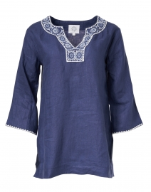Navy Medallion Embroidered Linen Tunic