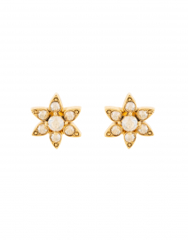 Gold Crystal Flower Stud Earring