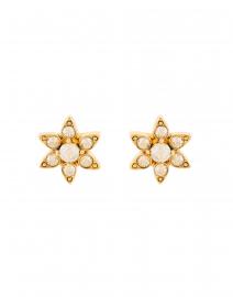 Oscar de la Renta - Gold Crystal Flower Stud Earring