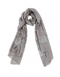 Dark Gray and Silver Metallic Printed Silk Scarf