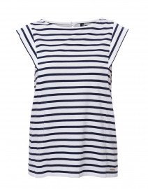 Valerie White and Blue Striped Top