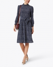 A.P.C. - Caroline Navy and White Polka Dot Printed Crepe Dress