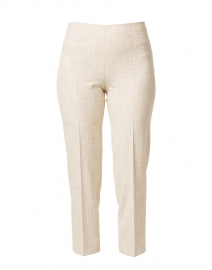 Audrey White and Beige Micro Check Stretch Viscose Pant