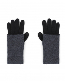 Black and Grey Colorblock Cashmere Gloves