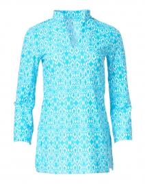 Chris Aqua Diamond Ikat Printed Nylon Top