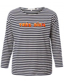 Tres Bien White and Navy Striped Cotton Shirt