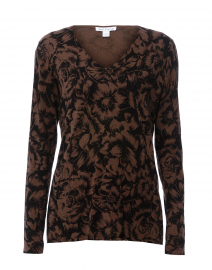 Brown and Black Floral Cotton Sweater