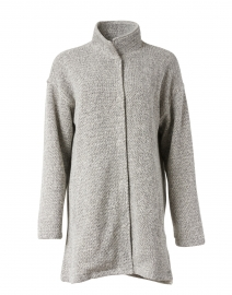 Ash Grey Cotton Terry Stand Collar Coat