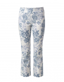 Blue and White Pixel Floral Pull On Crop Pant