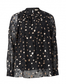 Black and Gold Geometric Printed Blouse