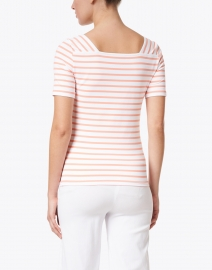Saint James - Pleneuf White and Coral Striped Jersey Top