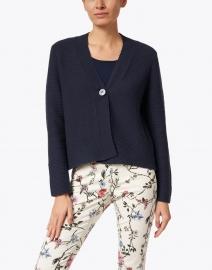 Kinross - Navy Ribbed Cotton Cardigan