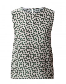 Green and White Polka Dot Silk Top