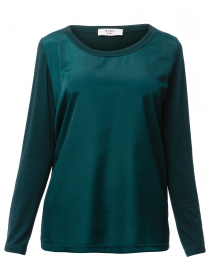 Green Viscose Top with Jersey Back