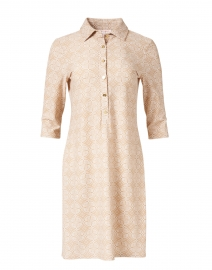 Susanna Sand Beige Medallion Printed Henley Dress