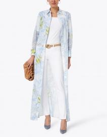 Ala von Auersperg - Kathe Light Blue Birds of Paradise Cotton Voile Shirt Dress