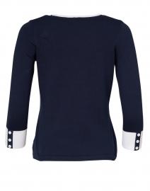 J'Envie - Navy Stretch Cotton Button Detail Top