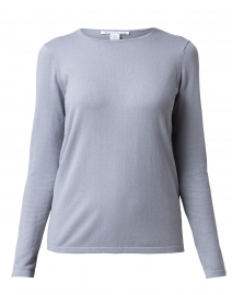 Metallic Grey Crew Neck Stretch Cotton Top
