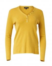 Yellow Cotton Henley Sweater