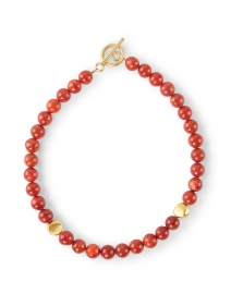 Coral and Gold Nugget Beaded Necklace
