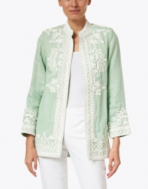 Bella Tu - Ceci Mint Embroidered Linen Jacket