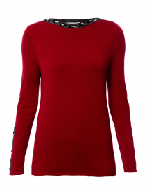 Red Cotton Sweater with Leopard Trim