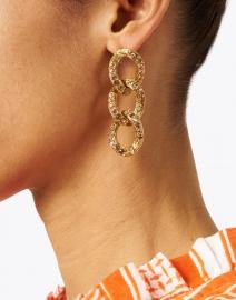 Oscar de la Renta - Light Peach Crystal Encrusted Chain Link Earring