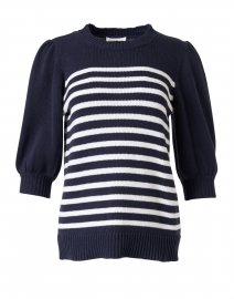 Navy and White Stripe Cotton Sweater
