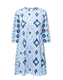 Blue Ikat Print Swing Dress
