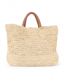 Mara Natural Woven Raffia and Leather Tote