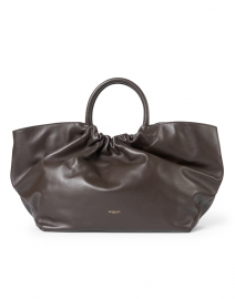 Los Angeles Espresso Smooth Leather Ruched Tote