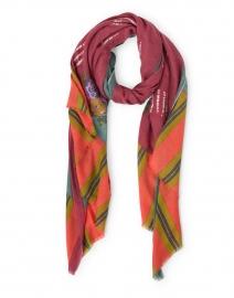 Dupatta Light Green and Red Wool Silk Scarf