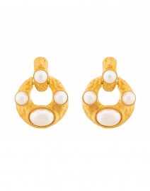 Pearl Encrusted Gold Doorknocker Clip On Earring