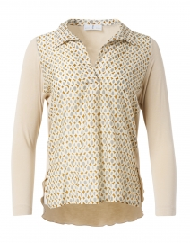 Beige and Grey Dot Printed Henley Top