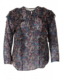 Aneri Black Multi Floral Print Silk Blouse