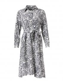 Fragola Black and White Floral Silk Shirt Dress