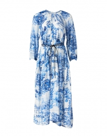 Divilera White and Blue Floral Tile Print Silk Dress