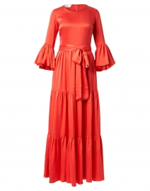 Pia Coral Silk Tiered Maxi Dress