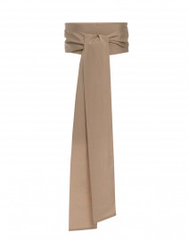 Beige Wide Ribbed Satin Belt