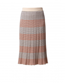 Red and Cream Fine Striped Silk Cotton Skirt