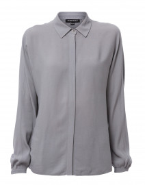 Blue Grey Silk Shirt with Pleated Back