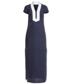 Navy Short Sleeve Stretch Linen Maxi Dress