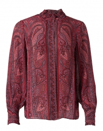Heni Red Multi Paisley Silk Georgette Blouse