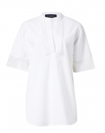 White Stretch Cotton Poplin Tunic Shirt