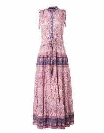 Paula Red and Purple Floral Silk Cotton Voile Dress