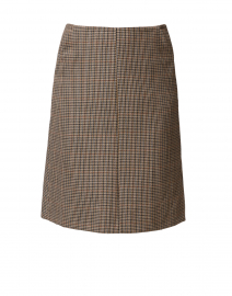 Brown and Navy Houndstooth Skirt